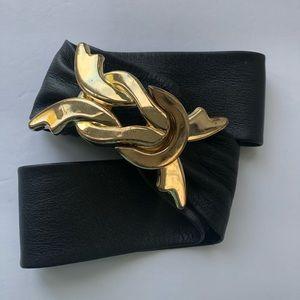 Vintage Adjustable Leather Belt Gold Chunky Buckle